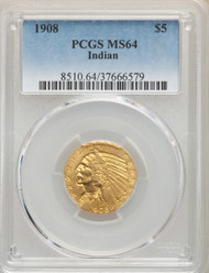 1908 $5 Gold Indian PCGS MS64 - 296829025