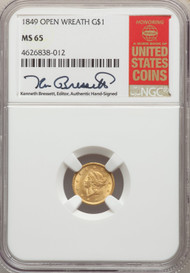 1849 G$1 Gold Liberty Head NGC MS65 Open Wreath