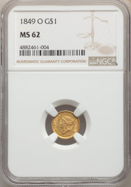 1849-O G$1 Gold Liberty Head NGC MS62