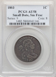 1803 1c Large Cent PCGS AU58 Small Date, Sm Frac