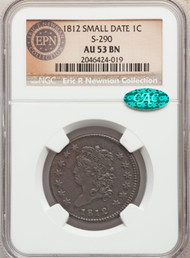 1812 1c Large Cent NGC AU53BN Small Date S-290