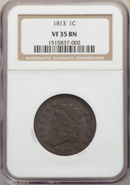 1813 1c Large Cent NGC VF35BN