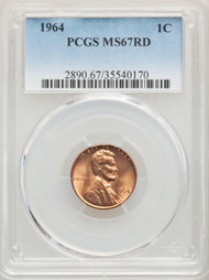 1964 1c Lincoln Cent PCGS MS67RD