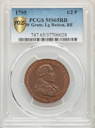 1795 1/2P Grate Half Penny Colonial PCGS MS65RB