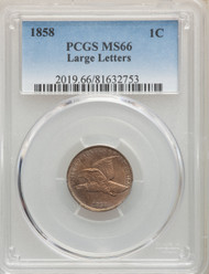 1858 1c Flying Eagle Cent PCGS MS66 Large Letters