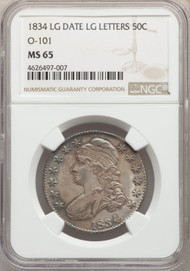 1834 50c Capped Bust Half Dollar NGC MS65 Large Date Large Letters