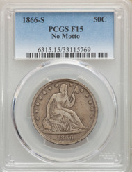1866-S 50c Seated Liberty Half Dollar PCGS F15 No Motto