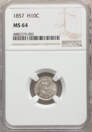 1857 H10c Seated Half Dime NGC MS64