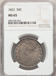 1822 50c Capped Bust Half Dollar NGC MS65