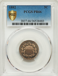 1882 5c Shield Nickel PCGS PR66