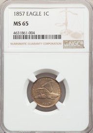 1857 1c Flying Eagle Cent NGC MS65 - 739882001