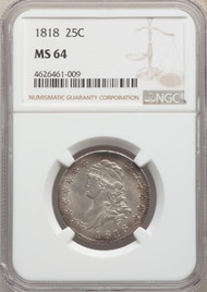 1818 25c Capped Bust Quarter NGC MS64