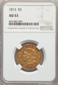 1813 $5 Gold Draped Bust NGC AU53