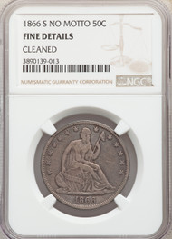 1866-S No Motto 50c Seated Liberty Half Dollar NGC Fine Details Cleaned