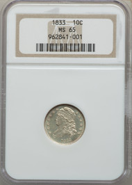 1833 10c Capped Bust Dime NGC MS65