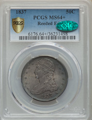 1837 50c Capped Bust Half Dollar PCGS MS64+ CAC Reeded Edge