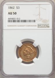 1862 $3 Gold Princess NGC AU50