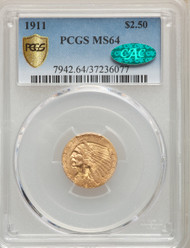 1911 $2.5 Gold Indian PCGS MS64 CAC