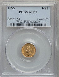 1855 G$1 Gold Princess PCGS AU53
