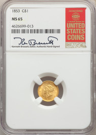 1853 G$1 Gold Liberty Head NGC MS65 - 740337066