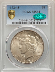 1924-S S$1 Peace Dollar PCGS MS64 CAC