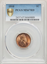 1910 1c Lincoln Cent PCGS MS67RD