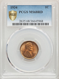 1934 1c Lincoln Cent PCGS MS68RD