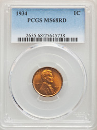 1934 1c Lincoln Cent PCGS MS68RD - 296780007