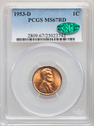 1953-D 1c Lincoln Cent PCGS MS67RD CAC