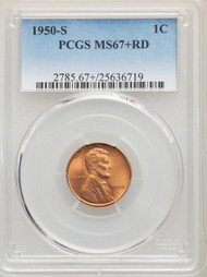 1950-S 1c Lincoln Cent PCGS MS67+RD