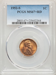 1952-S 1c Lincoln Cent PCGS MS67+RD