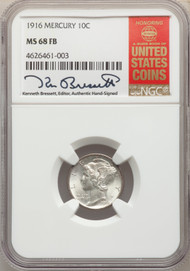 1916 10c Mercury Dime NGC MS68FB