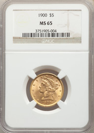 1900 $5 Gold Liberty NGC MS65 - 740288004