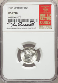 1916 10c Mercury Dime NGC MS67FB - 740337024