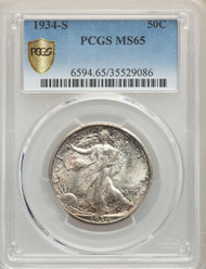 1934-S 50c Walking Liberty Half Dollar PCGS MS65 - 740237018