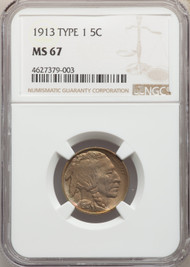 1913 5c Buffalo Nickel NGC MS67 Type 1