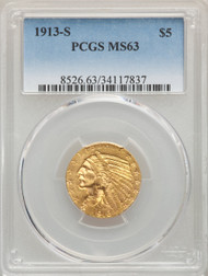 1913-S $5 Gold Indian PCGS MS63