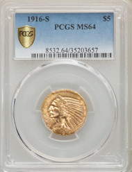 1916-S $5 Gold Indian PCGS MS64