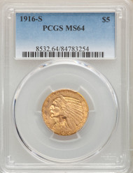 1916-S $5 Gold Indian PCGS MS64 - 740237047