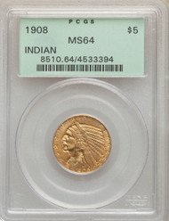 1908 $5 Gold Indian PCGS MS64 - 740426021