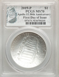 2019 $1 Apollo 11 Silver Dollar PCGS MS70 First Day of Issue