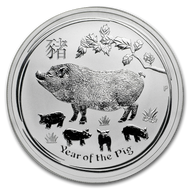 2019 1 oz Silver Lunar Year of The Pig BU Australian Perth Mint In Cap