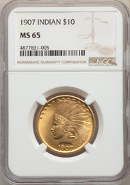1907 $10 Gold Indian NGC MS65