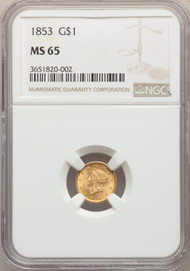 1853 G$1 Gold Liberty Head NGC MS65 - 740747003