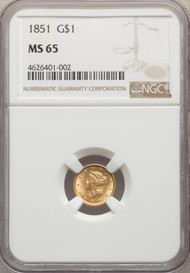 1851 G$1 Gold Liberty Head NGC MS65 - 740747004