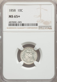 1858 10c Seated Liberty Dime NGC MS65+