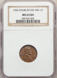 1955 1c Lincoln Cent NGC MS63BN Double Die Obv