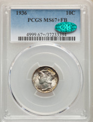 1936 10c Mercury Dime PCGS MS67+FB CAC