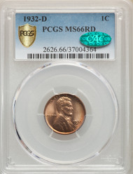 1932-D 1c Lincoln Cent PCGS MS66RD CAC