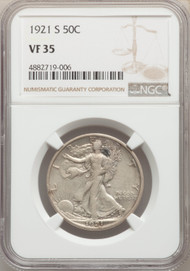 1921-S 50c Walking Liberty Half Dollar NGC VF35